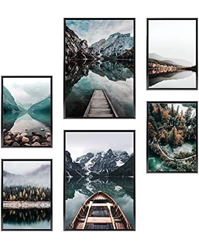 Heimlich® Tableau Décoration Murale - sans Cadres - Set de Poster Premium pour la Maison, Bureau, Salon, Chambre, Cuisine - 2 x (30x42cm) et 4 x (21x30cm)   »Lac de la Forêt «