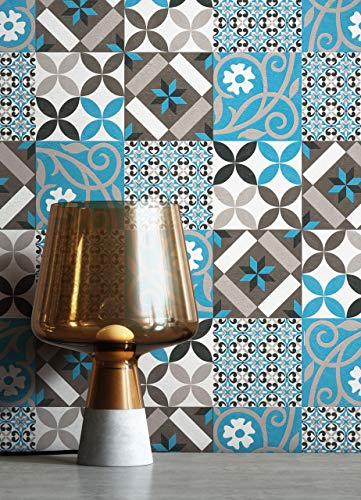 NEWROOM Tapete Blau Vliestapete Fliesen - Fliesentapete Orientalisch Grau Schwarz Mosaik Kacheln Fliesenoptik Grafisch Beton-Optik Mustertapete inkl. Tapezier-Ratgeber