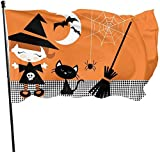 Garden Flag,Cute Halloween Witch Girl Cat Broomstick Themed Welcome Party Outdoor Outside Decorations Ornament Picks Home House Garden Yard Decor 3 X 5 Ft Small Flag