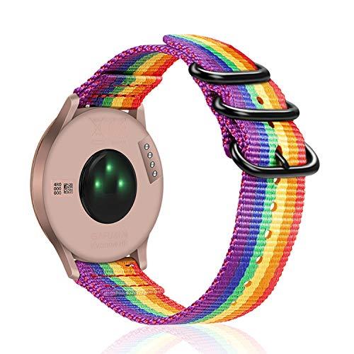 Fintie Armband kompatibel mit Garmin Vivoactive 3/Vivomove HR/Vivoactive 3 Music/Venu/Forerunner 245/645 Music - Nylon Uhrenarmband verstellbares Ersatzband mit Edelstahlschnallen, Regenbogen