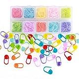 Rungao 104 pcs colorido Multicolor de punto de bloqueo de punto marcador de ganchillo tejido aguja con compartimento caja (8 colores a juego)