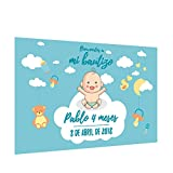 Photocall 'Bautizo para niño' Personalizado | Decoración de bautizos | Material Lona con Velcro para fácil colocación (250x170cm)