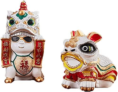 WQQLQX Statue Löwe Tanz goldene Schwein Piggy Bank münze jar Geld sparen Box niedlich Geschenk feng Shui dekor Lucky realth fealth Fortune Pig decoratio Skulpturen