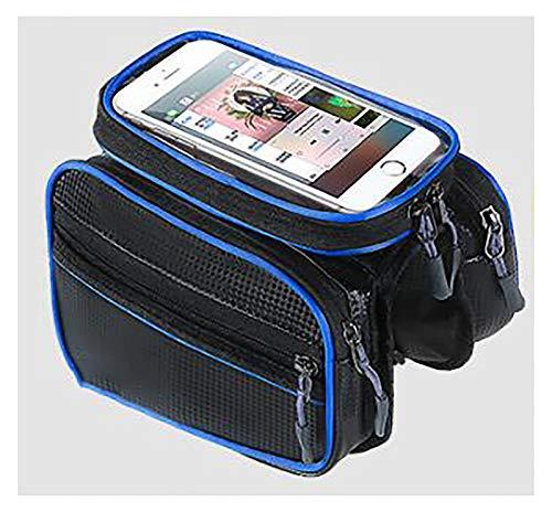 LJWLZFVT Bike Frame BagWaterproof Bike Pouch BagBicycle Phone Holder Large Capacity Storage Touchscreen Phone Bag with Headphone Hole Bike bag Pu pure black 195x10x15cm