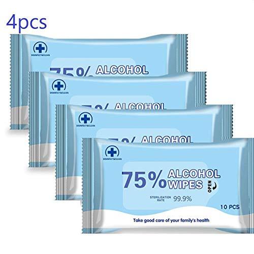 40 piezas de toallitas con alcohol al 75% para desinfectar las manos, muebles, asiento de inodoro y superficies, toallitas con alcohol, paquete de 4 x 10
