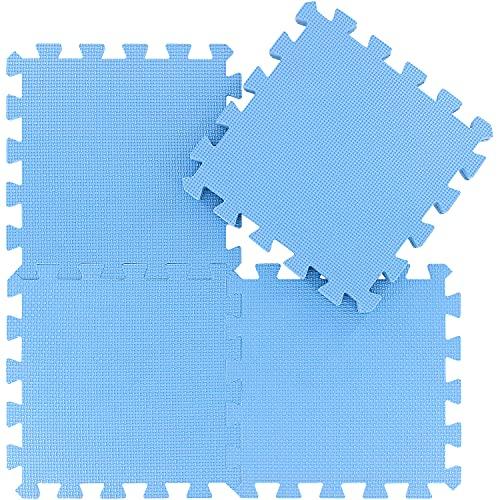 qqpp Alfombra Puzzle para Niños Bebe Infantil - Suelo de Goma EVA Suave. 18 Piezas (30 * 30 * 1cm), Azul.QQC-Gb18N