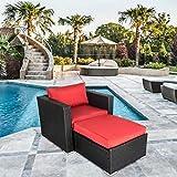 Outdoor Wicker Furniture Chair Ottoman Set Patio...
