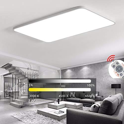 ZLQ LED Luz De Techo, Moderno Regulable Rectángulo Sala De Estar Luz con Mando A Distancia, 5cm Ultrafino Lugar Dormitorio Lámpara De Techo,Blanco,D90x60cm/144W