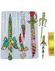 Koonafy Hars Silicone Dagger 6 pcs Shape Mallen, Resin Epoxy Mold Silicone voor Sword Maken, Sieraden Gieten Casting Mal voor Keychains, Woondecoratie,Coaplay, DIY Craft(3pcs Angel Wings+ a Roll of Copper Wire)