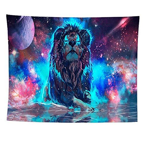 Changqiang Wandteppich Wandbehang indische Hippie Tapestry Fantasy Starry Leo Tapisserie Boho Dekoration für Schlafzimmer Wohnzimmer Picknickdecke Strandtuch-100x75cm