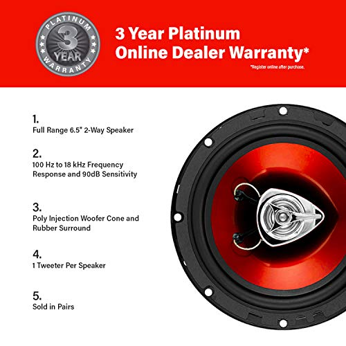 BOSS Audio Systems CH6520 Car Speakers - 250 Watts of Power Per Pair, 125 Watts Each, 6.5 Inch, Full Range, 2 Way, Sold in Pairs