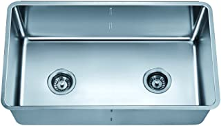 Dawn DSC301717 Undermount Single To Double Combination Bowl Sink with Removable Acrylic Glass Divider, Polished Satin