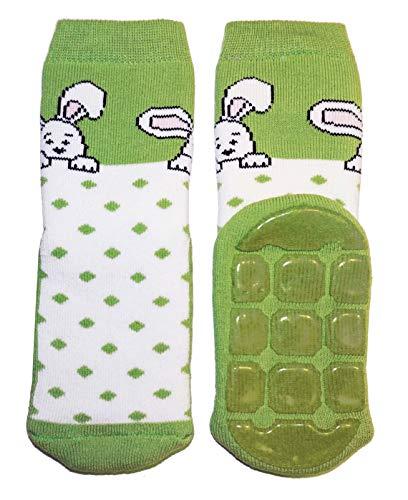 Weri Spezials Baby Voll-ABS Socke Hase+Punkte Motiv in Grasgruen Gr.19-22 (12-24 Monate)