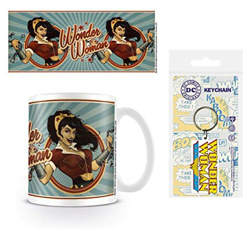 1art1 Wonder Woman, DC Comics Bombshells Taza Foto (9x8 cm) Y 1 Wonder Woman, Llavero (6x4 cm)