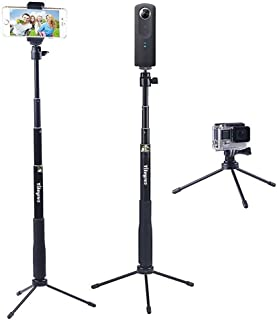 YiSeyruo Selfie Stick Extendable Monopod with Tripod Stand for GoPro Hero 5/4/3+/3/2/1/Session, DJI Osmo Action Camera, Samsung Gear 360,4K Action Camera, Ricoh Theta S,M15 Camera, and Cell Phones