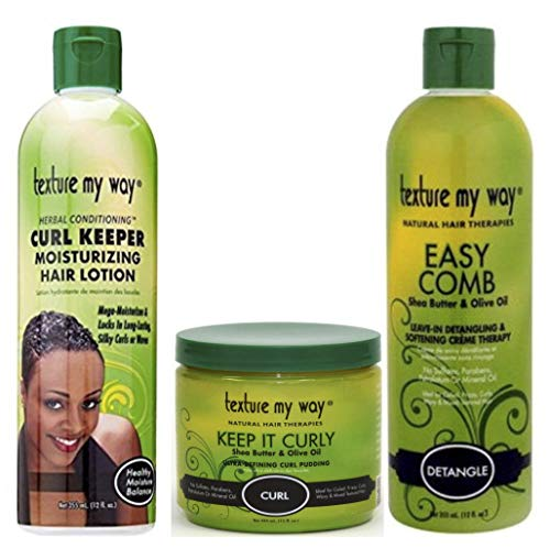 Paquete Texture My Way®, 3 productos | Loción capilar hidratante Curl Keeper de 355 ml | Pasta ultradefinidora de rizos Keep it Curly de 450 ml | Crema suavizante y desenredante Easy Comb de 355 ml