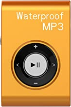 MIUSUK Waterproof MP3 Player Built-in 8GB Swimming Diving Sports with Waterproof Headphones Players Support FM Radio and Shuffle Feature Perfect Swimming Companion (Orange)