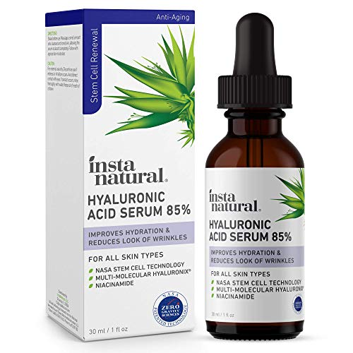 Hyaluronic Acid 85% Face Serum - Natural Anti-Aging Formula for Fine Lines & Wrinkles to Hydrate, Moisturize & Plump Dull, Dry Skin - With Niacinamide & NASA Stem Cell Technology - InstaNatural - 1 oz