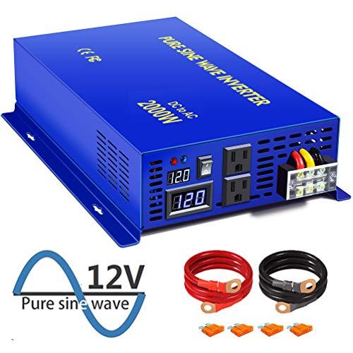XYZ INVT 2000 Watt Pure Sine Wave Inverter 12V DC to 120V AC, 2000W Power Inverter Surge 4000W Power Converter for Solar System. (2000W 12V 120V)