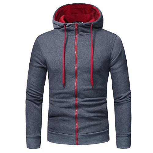 MRULIC Herren Herren Langarm Hoodie mit Kapuze Sweatshirt Tops Jacke Mantel Outwear(Grau,EU-42/CN-M)