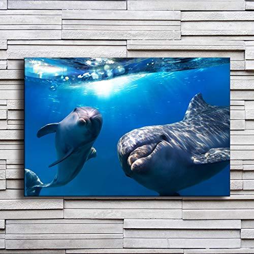 Cartel Decorativo Impresión Pintura De La Lona Cuadro En Lienzo para Pared De Sala De Estar, Póster De Delfines Submarinos,...
