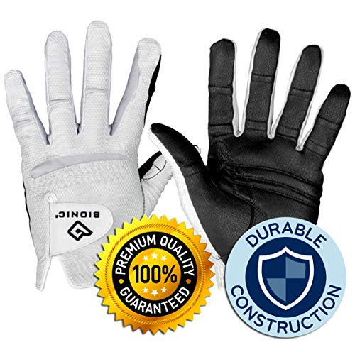 New Improved 2X Long Lasting Bionic RelaxGrip Golf Glove with Patented Double-Row Finger Grip System (Men's Cadet Large, Worn on Left Hand)