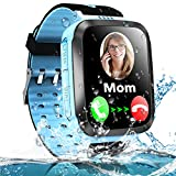 Kids Smart Phone Watch for Boys Girls with LBS Tracker Two Way SOS Call IP67 Waterproof Camera Game Voice Chat 1.44'' Touch Screen Flashlight Alarm Clock Cellphone Digital Wrist Watch Birthday (Blue)