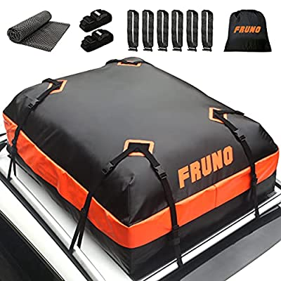 FRUNO 15 CUFT Rooftop Cargo Carrier Waterproof Heavy Duty Soft-Shell Vehicle Cargo Carrier Bag for Car with/Without Roof Top Rack