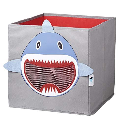 LOVE !T STORE !T - Spielzeugkiste - Haifisch, 30x30x30cm, haifisch - hellgra/rot /hellblau/weiß, faltbare Spielzeugkiste für das Kinderzimmer, Aufbewahrungsbox für Kinder, 750145