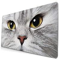 マウスパッド 大型 ゲーミング デスクマット ペルシャ猫 目 不機嫌 ネコ 見る かわいい 防水性 耐久性 滑り止め 多機能 超大判 40cm×75cm
