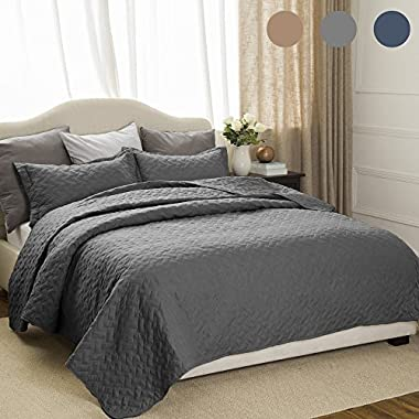 Bedsure Quilt Set Solid Grey King(106 x96 ) Basketweave Pattern Lightweight Hypoallergenic Microfiber Simone