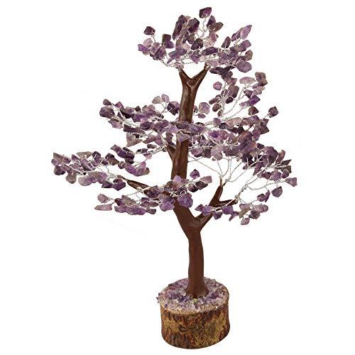 Crocon Amethyst Gemstone Tree Feng Shui Figurine Money Bonsai Good Luck Chakra Balancing Reiki Healing Crystals Decoration Ornament Sculpture Prosperity Table Decor Gift Size 10-12'