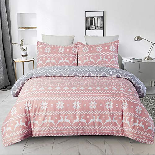 YEPINS Soft Brushed Microfiber Duvet Cover Set with Zipper Closure and Corner Ties, Reversible Design for Christmas Holiday, Pink and Grey Color-Queen Size
