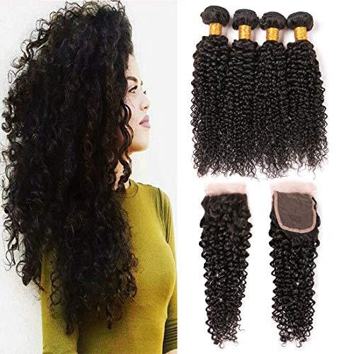 DAIMER Brazilian Kinky Curly Lace Closure Frontal Mit 3 Bundles Weave Verlängerung Human Haare Echthaar Extensions Natural Locken Wellig Tressen Die Natürlichen (18 20 22 +16 Inches) …