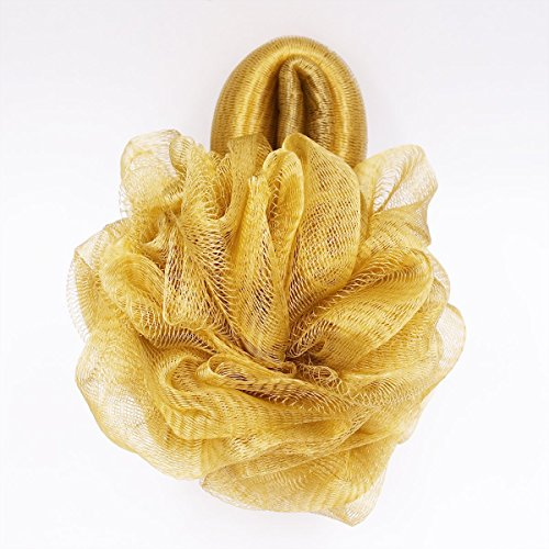 FullGold Badeschwamm im Blumenstil mit Handschlaufe, Luffa, Netz-Bürste, Duschball, groß, Peeling, weiche Badeschwämme, Luffa, 1 Stück (Gold)