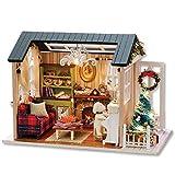 Casa de Muñecas, DIY Casa de Muñecas en Miniatura de Navidad, Realista Mini 3D Casa de Madera Artesanal, con Muebles y Luces LED, Regalo de Cumpleaños del día de los Niños Decoración de Navidad