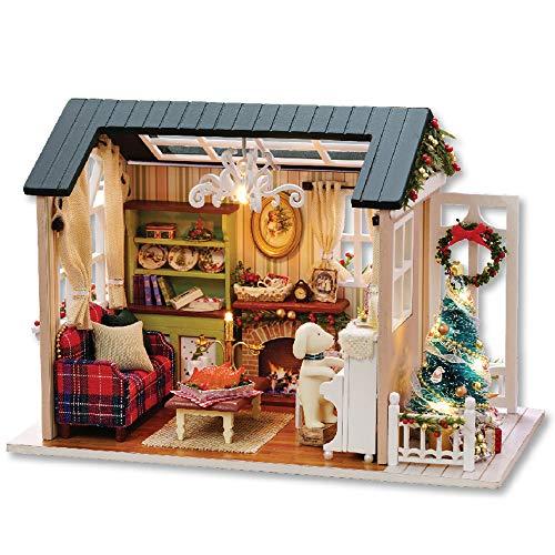 Blusea Häuser für Minipuppen, DIY Weihnachten Miniatur Puppenhaus Kit Realistische Mini 3D Holzhaus Zimmer Handwerk mit Möbel LED-Leuchten Kindertag Geburtstagsgeschenk Weihnachtsdekoration