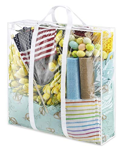 Whitmor Jumbo Everyday Holiday Bag, Seasonal Storage for Easter, Fourth of July, Fall & Christmas, Clear/White