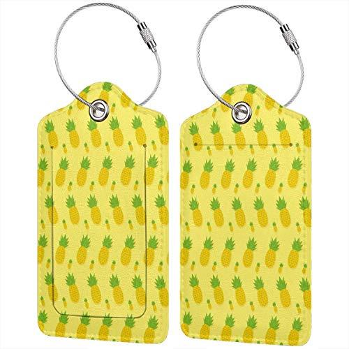 Colorido gatito amarillo pino ondas Lage etiquetas bolsa pu cuero maleta etiquetas...