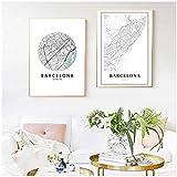 Impresión de mapa de la ciudad de Barcelona, póster en blanco y negro, arte de Barcelona, lienzo de Cataluña, regalo de viajero de España, decoración de pared para dormitorio, 50x75 cm x2 sin marco