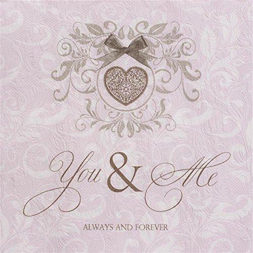 16 Servietten geprägt You and Me rose/rosa / Hochzeit/Prägung 33x33cm