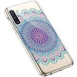 Uposao Kompatibel mit Samsung Galaxy Note 10 Hülle Silikon Schutzhülle Feder Mandala Blume Muster Durchsichtig Case Klar Weiche Ultra Dünn Transparent TPU Bumper Handyhülle Kratzfeste,#9
