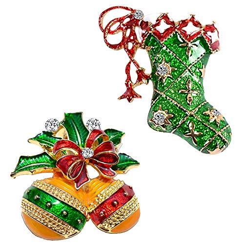 2 stks kerst broche pins set klokken schoenen vakantie broche kerst xmas pin veel gunst kerst broche pin set geschenken