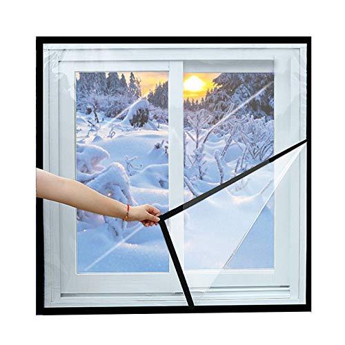 Ajustable Transparente Cortina De Aislamiento, Vinilo Ventana Kit De Aislamiento A Prueba De Viento Clima Frío Reducción De Ruido Invierno Película De Aislamiento-120x80cm(47x31inch)-negro