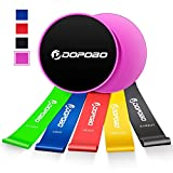 Gliding Discs Core Sliders and 5 Resistance Bands, Dopobo Double-Sided Sliding Discs, Resistance Bands for Intense, Low-Impact Exercises to Strengthen Core, Glutes, Abs Fitness (pink)
