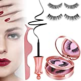 Magnetic Eyeliner and Lashes - 2 Pairs Reusable Magnetic Eyelash and Eyeliner Kit, No Glue Reusable Silk False Lashes, Easier to Use than Traditional Magnetic Eyelashes