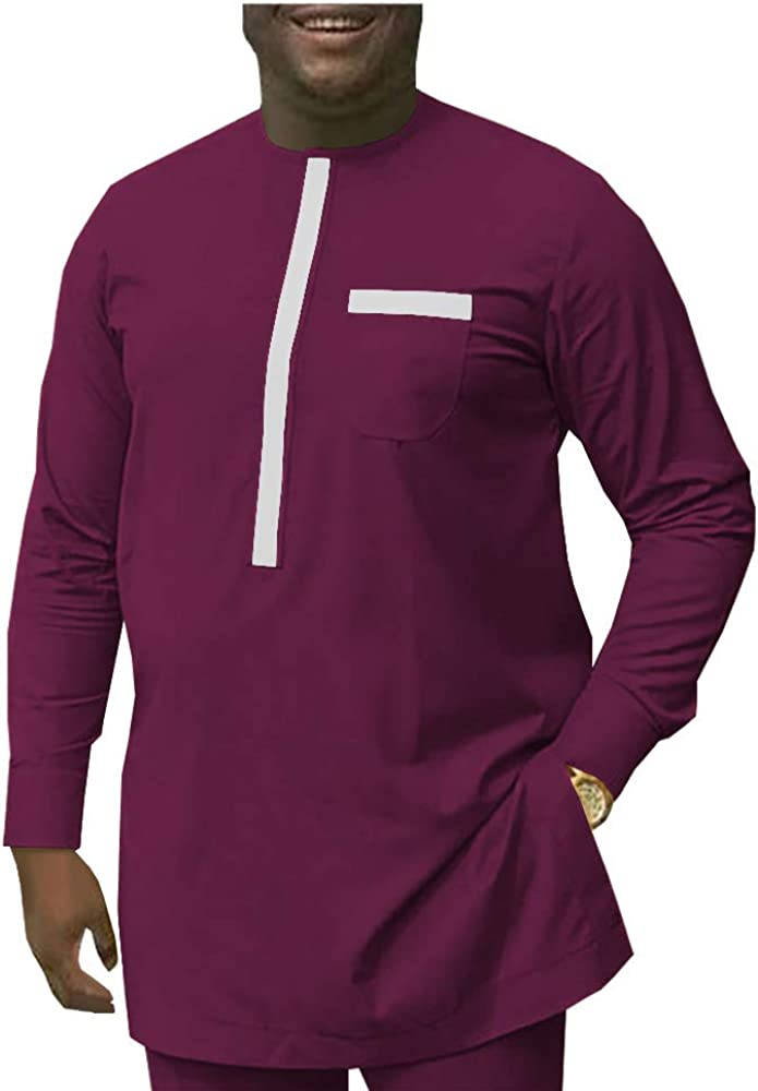 Mens Two Pieces African Dashiki Long Sleeve Shirt and Pants Ankara Clothing Clothes Sets Attire