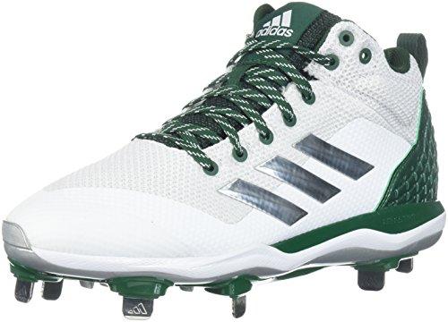 adidas Men's Freak X Carbon Mid Baseball Shoe, FTWR White, Silver Met, Dark Green, 9.5 M US