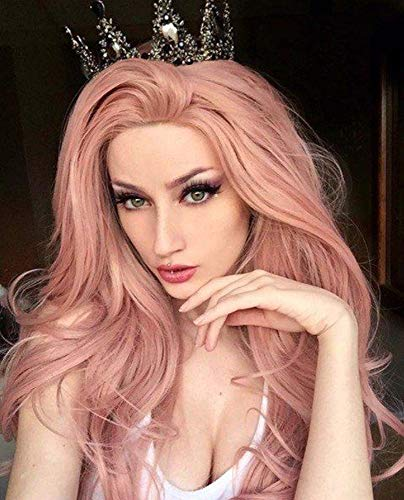 Imstyle Pink Lace Front Wig Long Wavy Rose Wig Mixed Color Synthetic Hair...