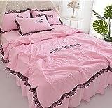 XNSY Sommerdecke Sommerdecke aus gewaschener Baumwollstickerei-1,5 Meter_Pink